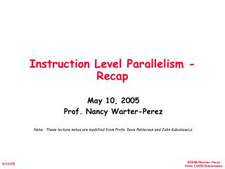 Instruction Level Parallelism - Recap