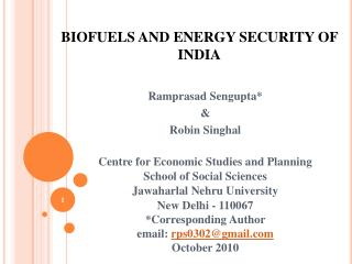 BIOFUELS AND ENERGY SECURITY OF INDIA