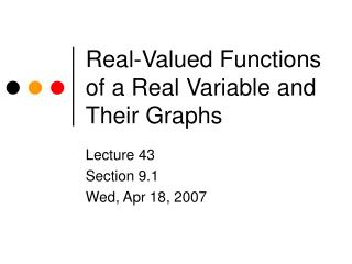 Real-Valued Functions of a Real Variable and Their Graphs