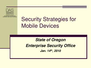 Security Strategies for Mobile Devices