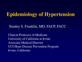 Epidemiology of Hypertension