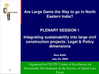 Are Large Dams the Way to go in North Eastern India? PLENARY SESSION 1