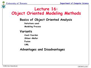 Lecture 16: Object Oriented Modeling Methods
