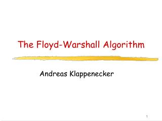 The Floyd-Warshall Algorithm
