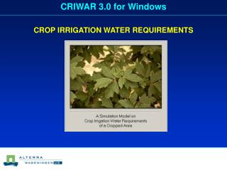 CROP IRRIGATION WATER REQUIREMENTS