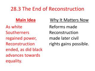 28.3 The End of Reconstruction