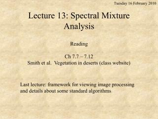 Lecture 13: Spectral Mixture Analysis