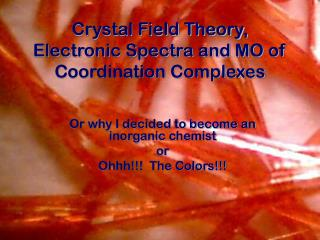 Crystal Field Theory, Electronic Spectra and MO of Coordination Complexes