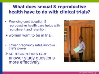 What does sexual & reproductive health have to do with clinical trials?