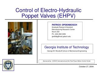 Control of Electro-Hydraulic Poppet Valves (EHPV)