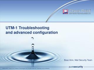 UTM-1 Troubleshooting and advanced configuration
