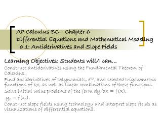 Learning Objectives: Students will/I can…