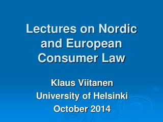 Lectures on Nordic and European Consumer Law
