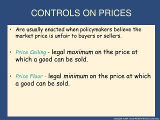CONTROLS ON PRICES