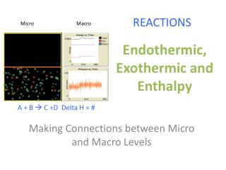 Endothermic, Exothermic and Enthalpy
