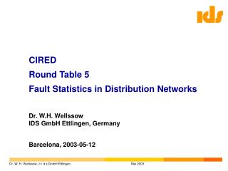 CIRED Round Table 5  Fault Statistics in Distribution Networks