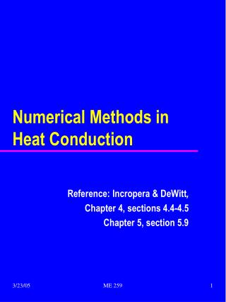 Numerical Methods in Heat Conduction