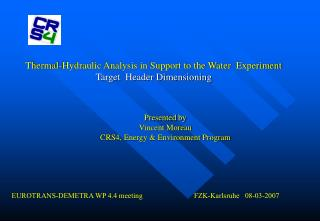 Thermal-Hydraulic Analysis in Support to the Water  Experiment Target  Header Dimensioning