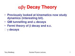 abg  Decay Theory