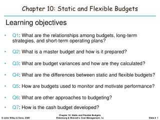 Chapter 10: Static and Flexible Budgets