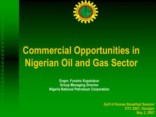 Commercial Opportunities in Nigerian Oil and Gas Sector