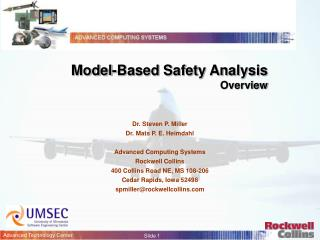 Model-Based Safety Analysis Overview