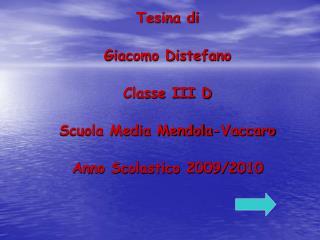 Tesina di Giacomo Distefano Classe III D Scuola Media Mendola-Vaccaro Anno Scolastico 2009/2010