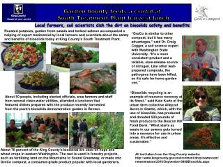 Sept. 9, 2010 Garden bounty feeds a crowd at  South Treatment Plant harvest lunch