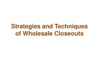 Strategies and Techniques of Wholesale Closeouts