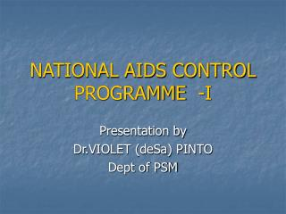 NATIONAL AIDS CONTROL PROGRAMME  -I