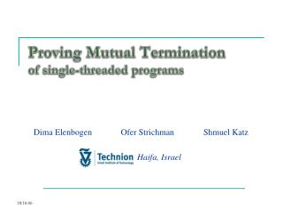 Proving Mutual Termination of single-threaded programs