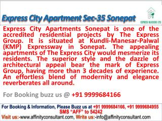 Express Builder City Apartments sect 35 Sonepat @09999684166