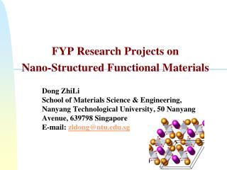 FYP Research Projects on Nano-Structured Functional Materials