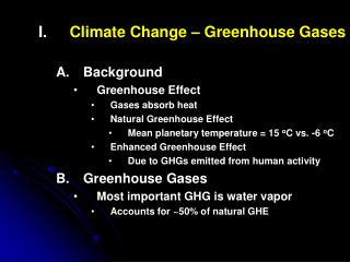 Climate Change – Greenhouse Gases Background Greenhouse Effect Gases absorb heat