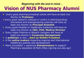 Beginning with the end in mind … Vision of NUS Pharmacy Alumni