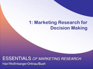 1: Marketing Research for Decision Making