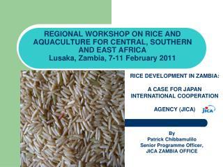 By Patrick Chibbamulilo Senior Programme Officer, JICA ZAMBIA OFFICE