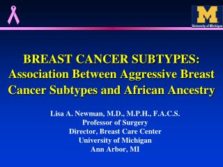 BREAST CANCER SUBTYPES: Association Between Aggressive Breast Cancer Subtypes and African Ancestry