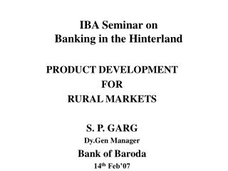 IBA Seminar on Banking in the Hinterland