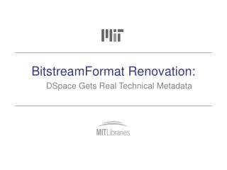 BitstreamFormat Renovation: