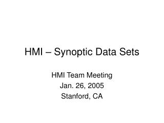HMI – Synoptic Data Sets