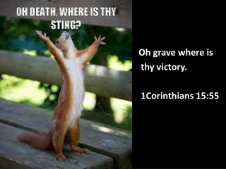 Oh grave where is  thy victory. 1Corinthians 15:55