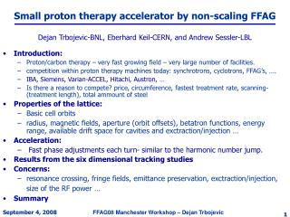 Small proton therapy accelerator by non-scaling FFAG