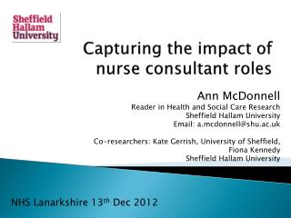 Capturing the impact of  nurse consultant roles