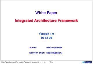 White Paper Integrated Architecture Framework