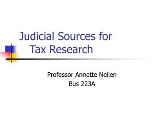 Judicial Sources for     Tax Research
