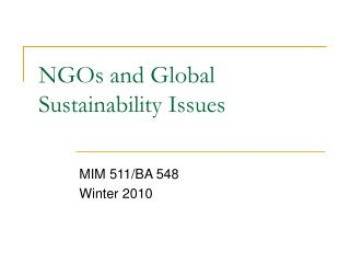 NGOs and Global Sustainability Issues