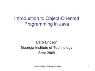 Introduction to Object-Oriented Programming in Java