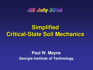 Simplified Critical-State Soil Mechanics