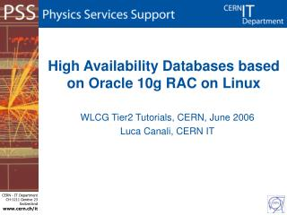High Availability Databases based on Oracle 10g RAC on Linux